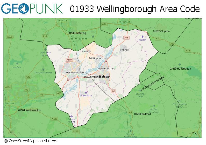 Map of the 01933 Wellingborough STD dialling Area Code