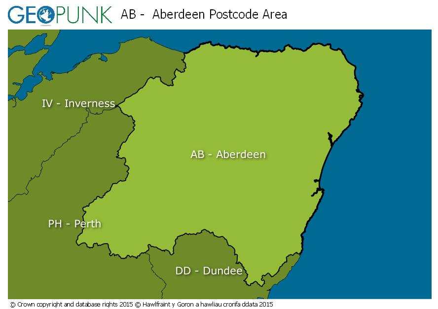 map of the AB  Aberdeen postcode area