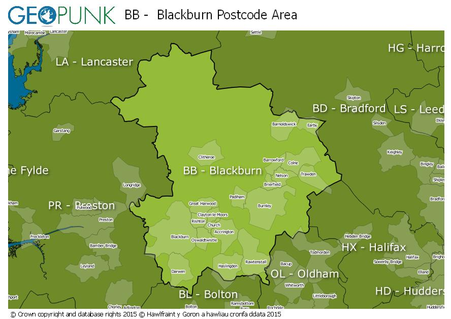 map of the BB  Blackburn postcode area