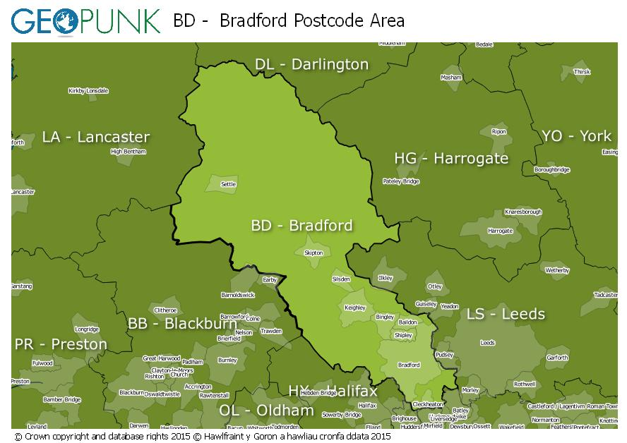 map of the BD  Bradford postcode area