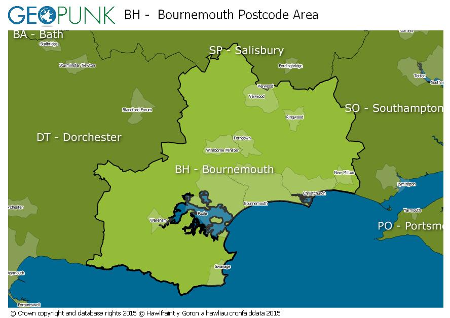 map of the BH  Bournemouth postcode area