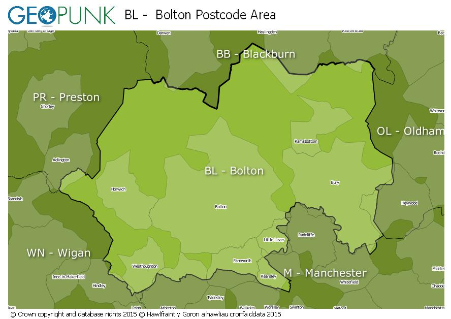 map of the BL  Bolton postcode area