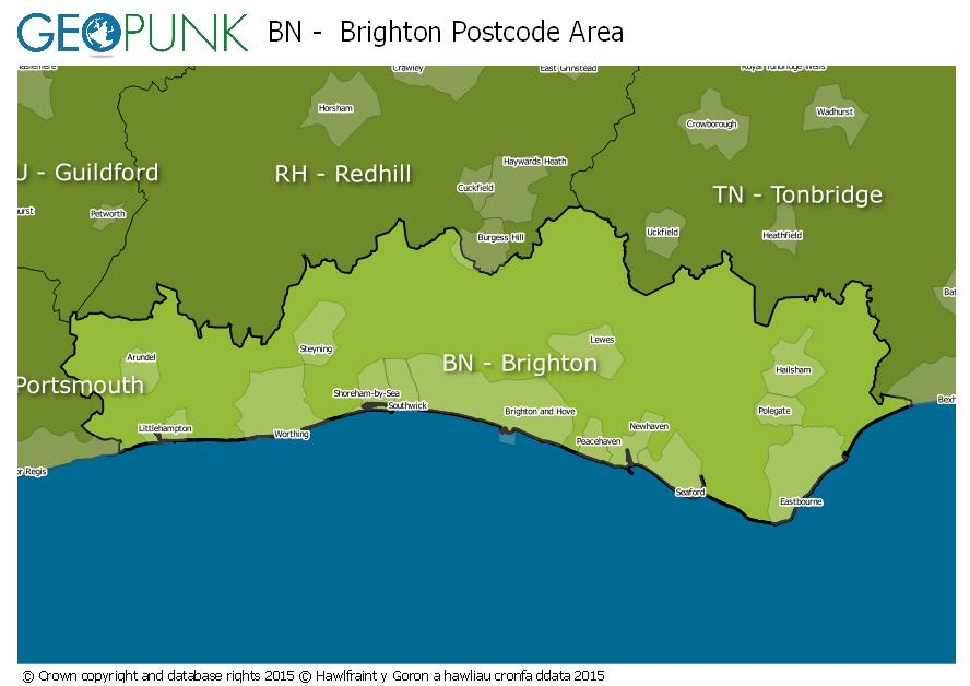 map of the BN  Brighton postcode area