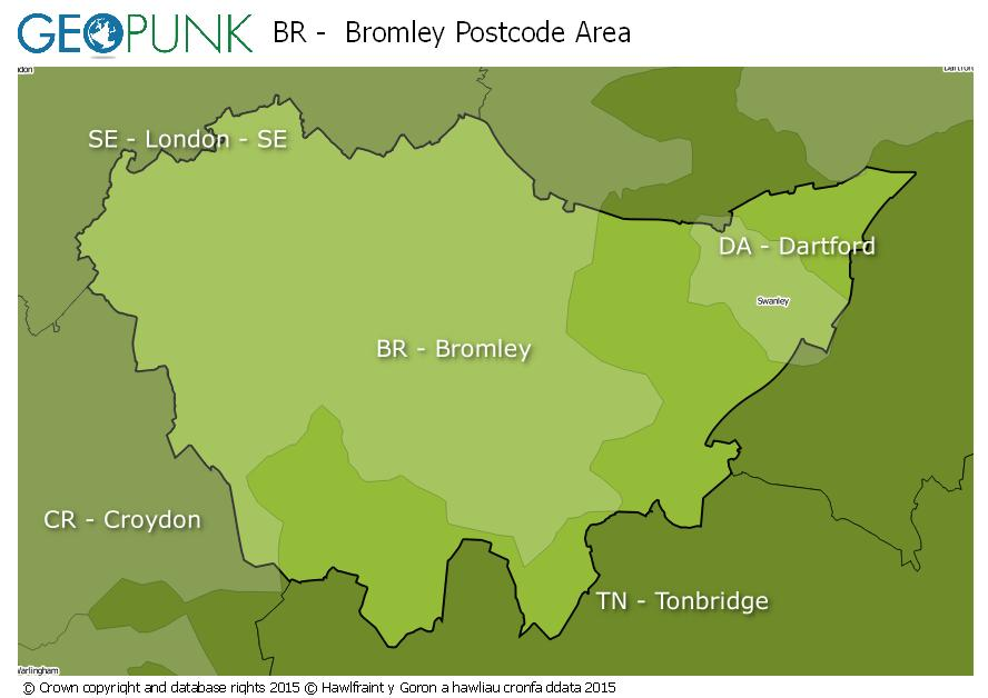 map of the BR  Bromley postcode area