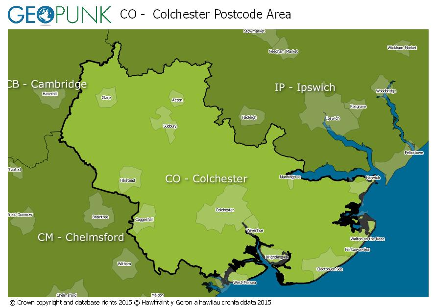 map of the CO  Colchester postcode area