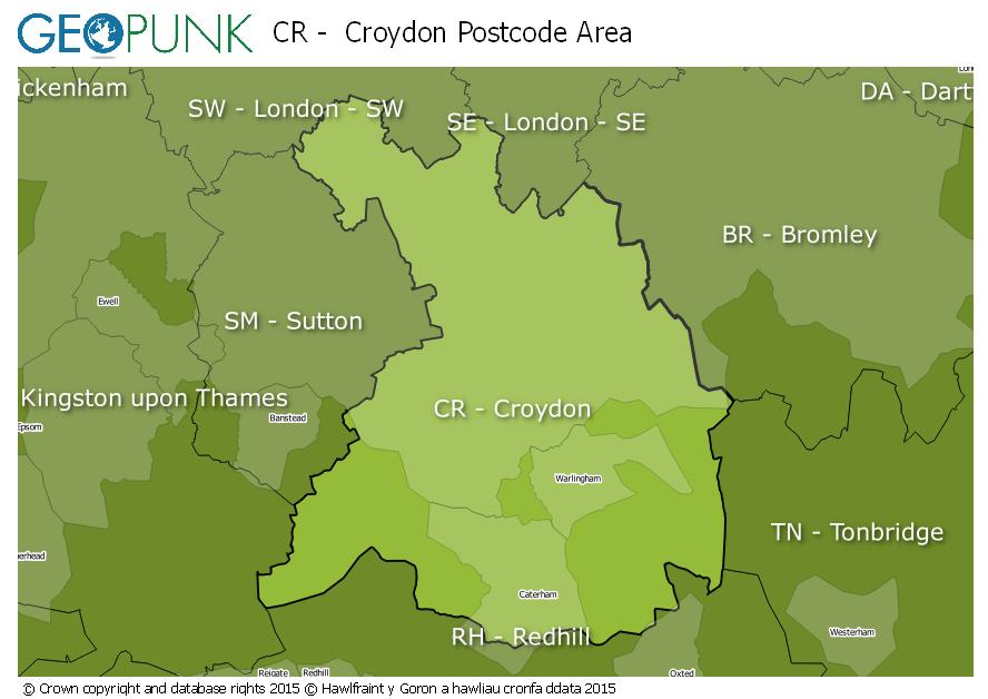 Cr Postcode Map CR Croydon Postcode Area