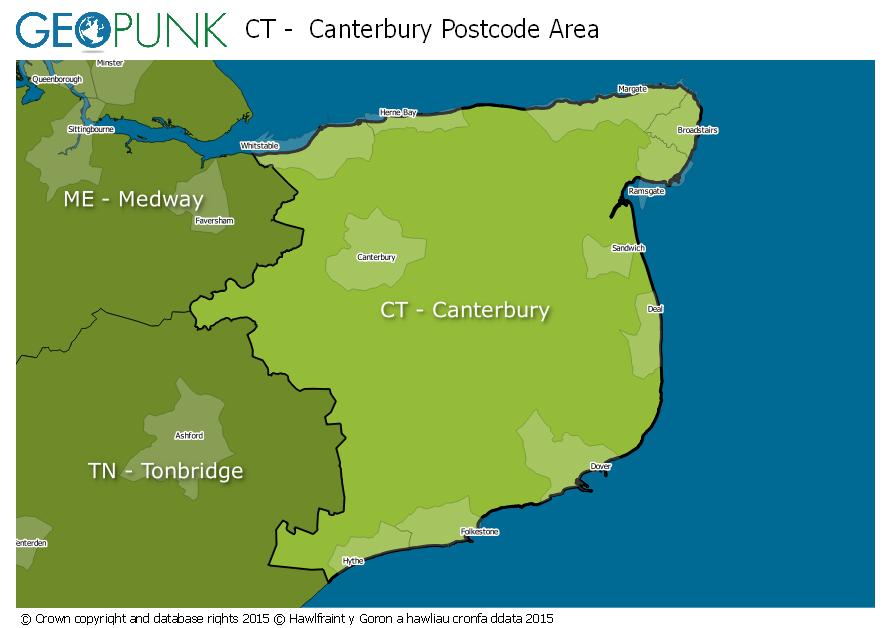 map of the CT  Canterbury postcode area