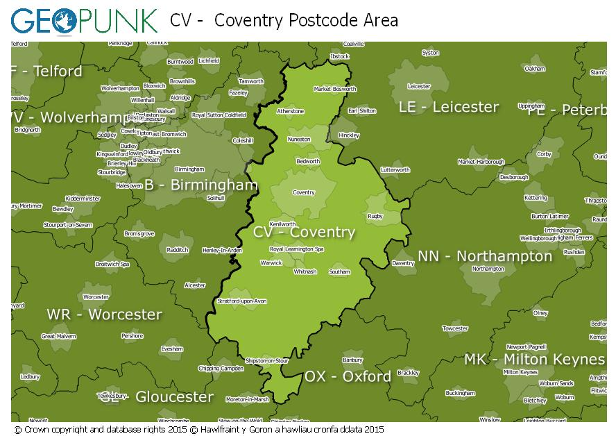 map of the CV  Coventry postcode area