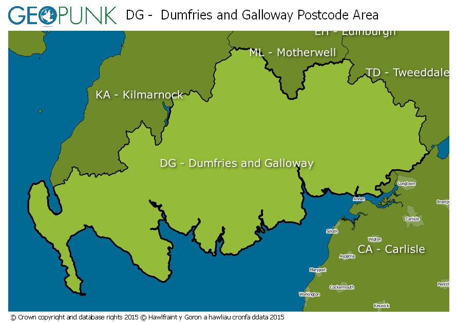 map of the DG  Dumfries and Galloway postcode area