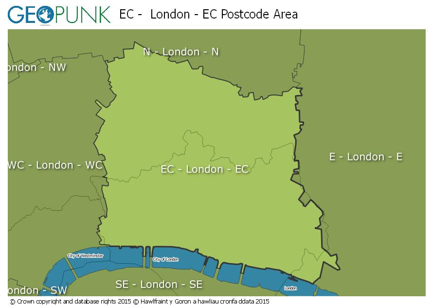 map of the EC  London - EC postcode area
