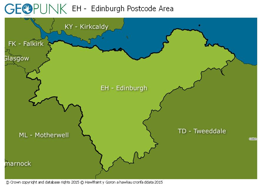 map of the EH  Edinburgh postcode area