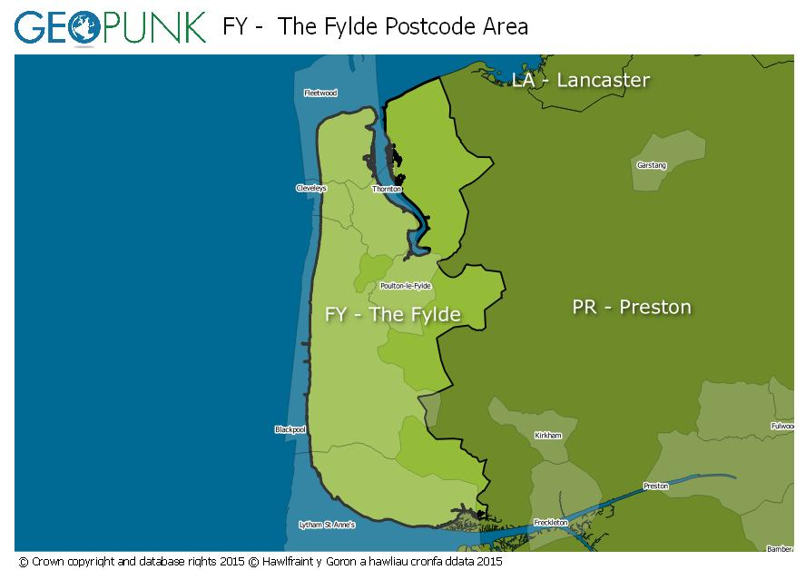 map of the FY  The Fylde postcode area