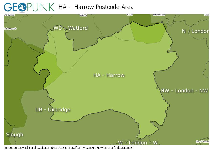 map of the HA  Harrow postcode area