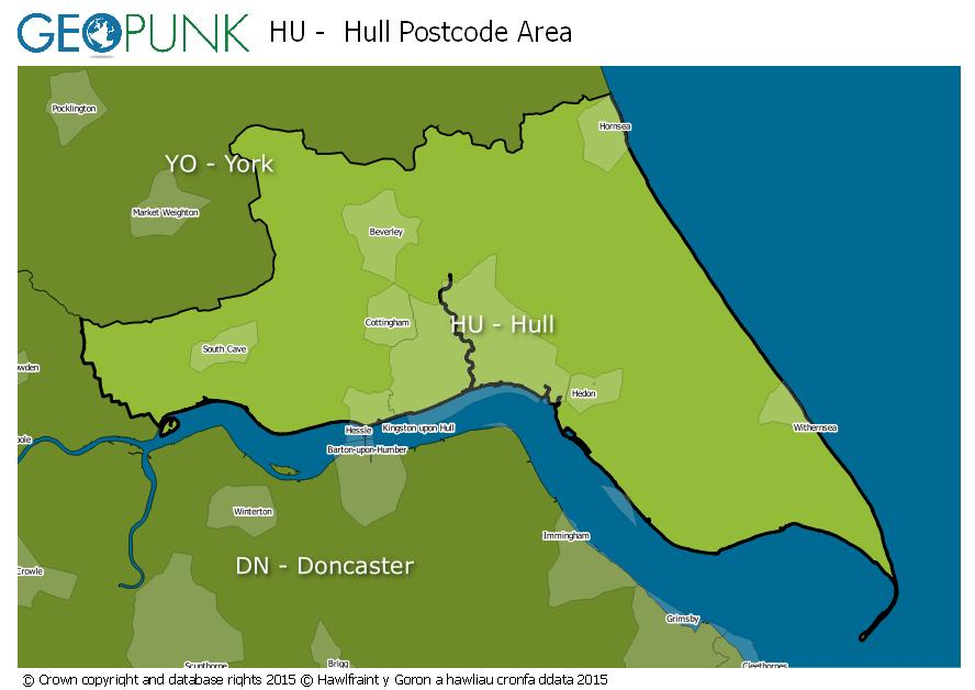 Hull Postcode Map HU Hull Postcode Area