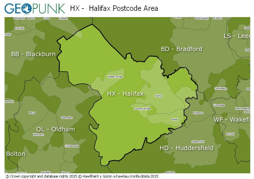 map of the HX  Halifax postcode area