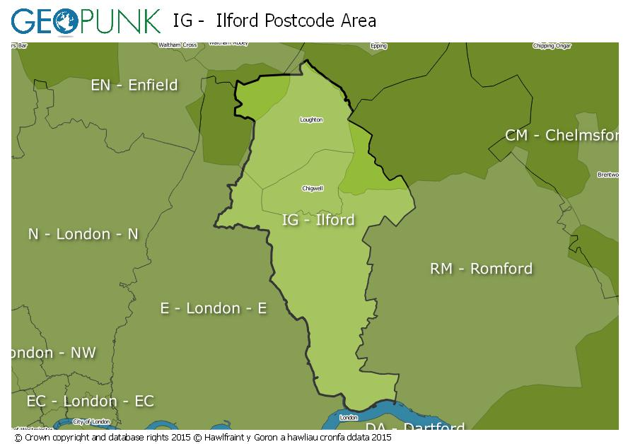 map of the IG  Ilford postcode area