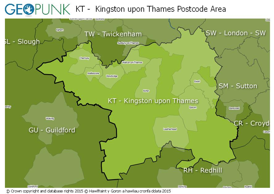 map of the KT  Kingston upon Thames postcode area