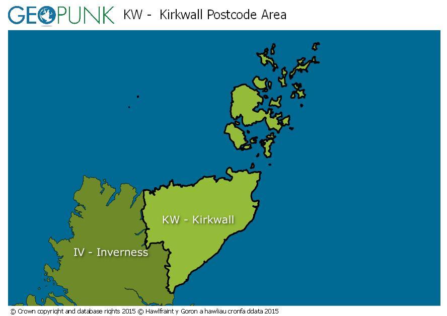map of the KW  Kirkwall postcode area