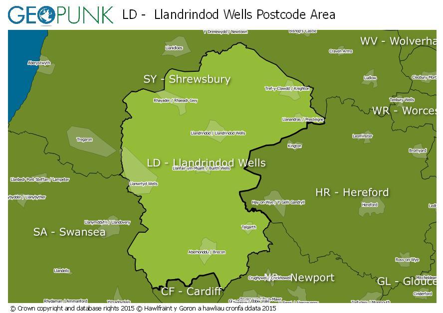 map of the LD  Llandrindod Wells postcode area
