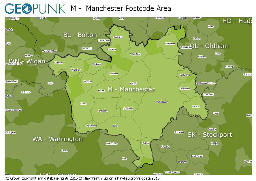 map of the M  Manchester postcode area