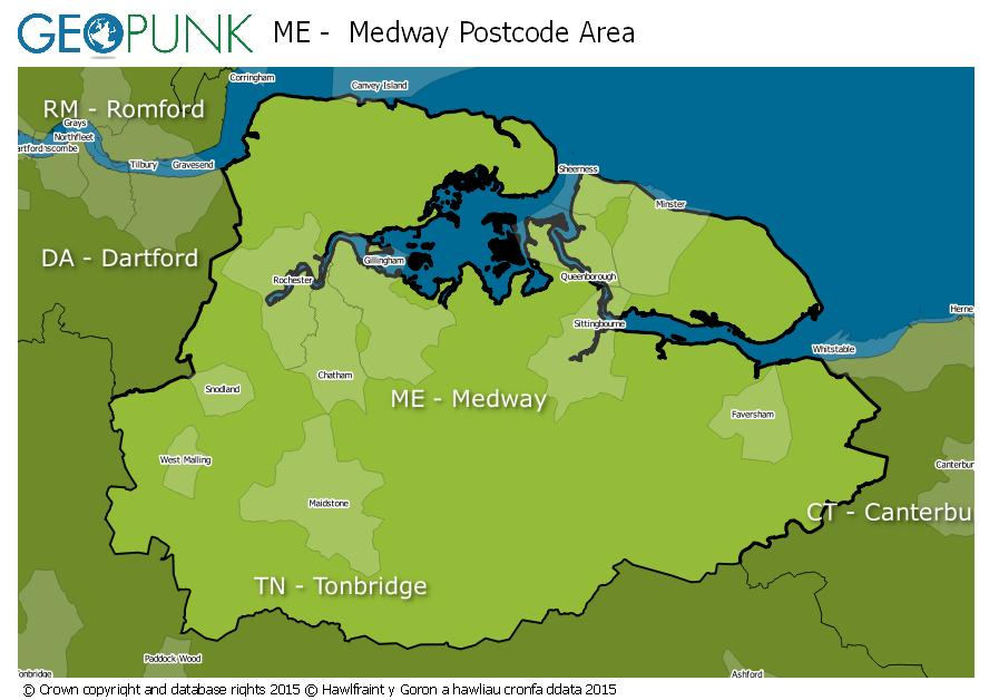 map of the ME  Medway postcode area