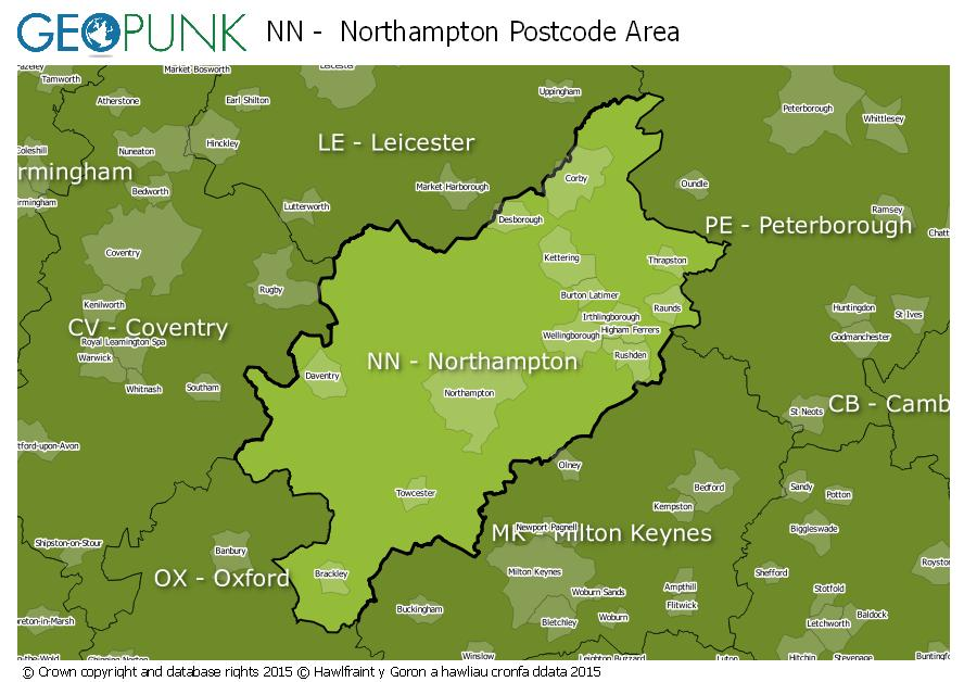 map of the NN  Northampton postcode area