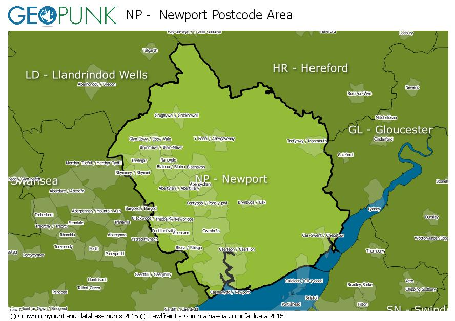 map of the NP  Newport postcode area