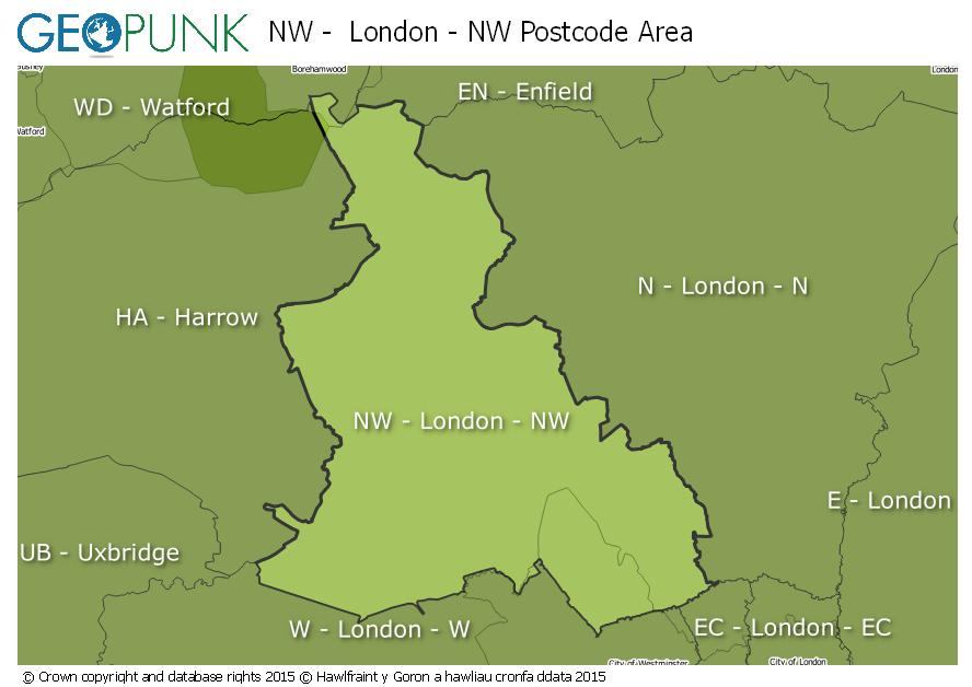 map of the NW  London - NW postcode area