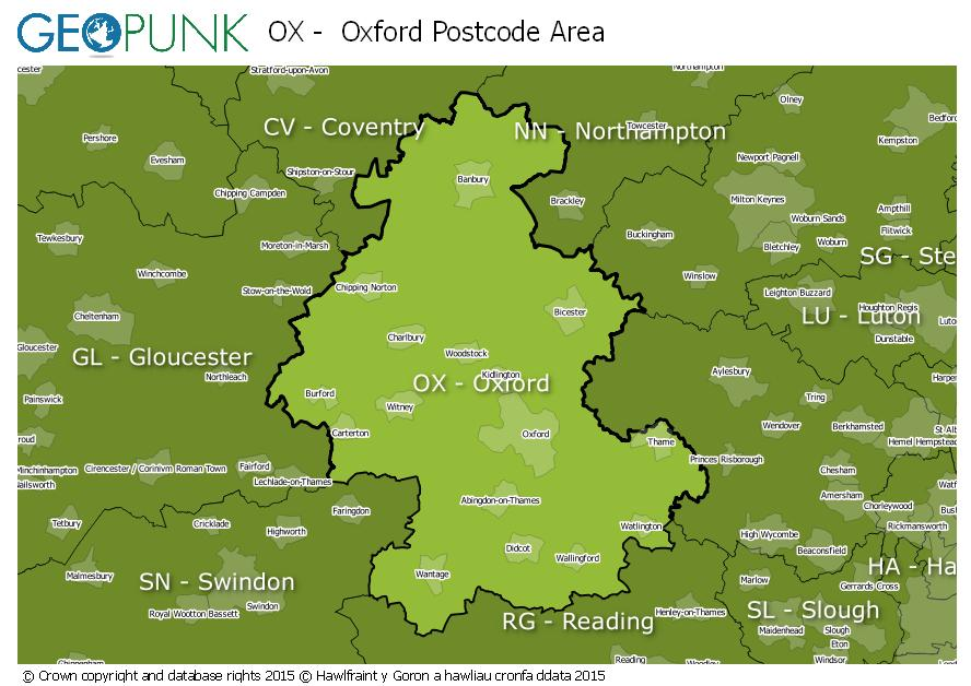 map of the OX  Oxford postcode area