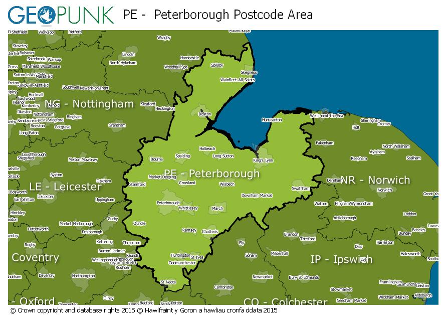 map of the PE  Peterborough postcode area