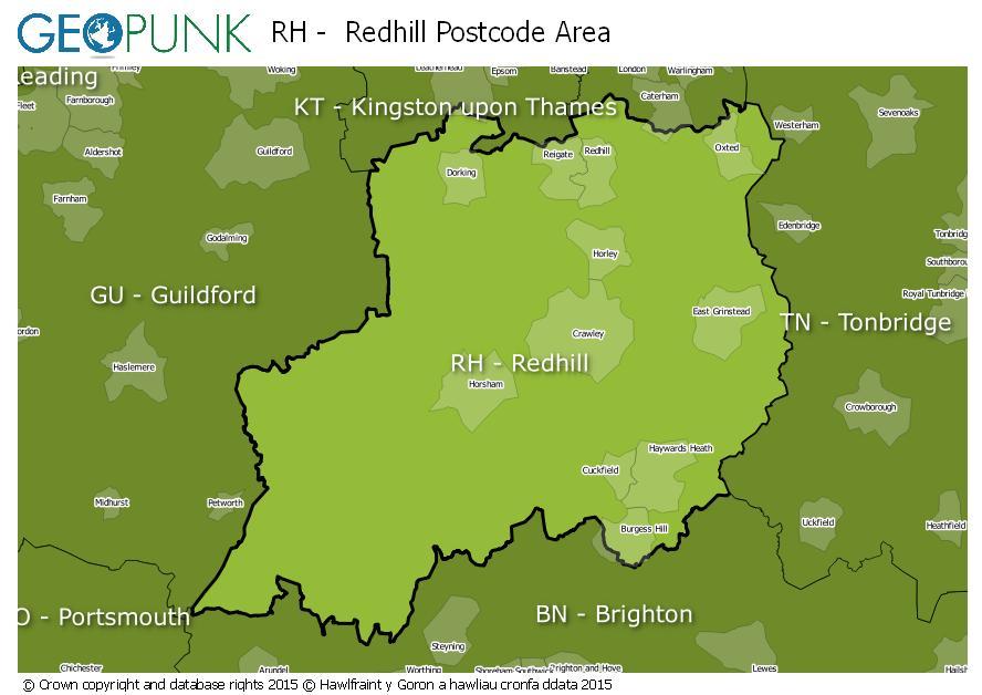 map of the RH  Redhill postcode area