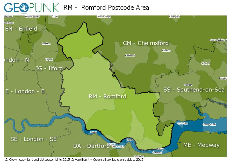 map of the RM  Romford postcode area