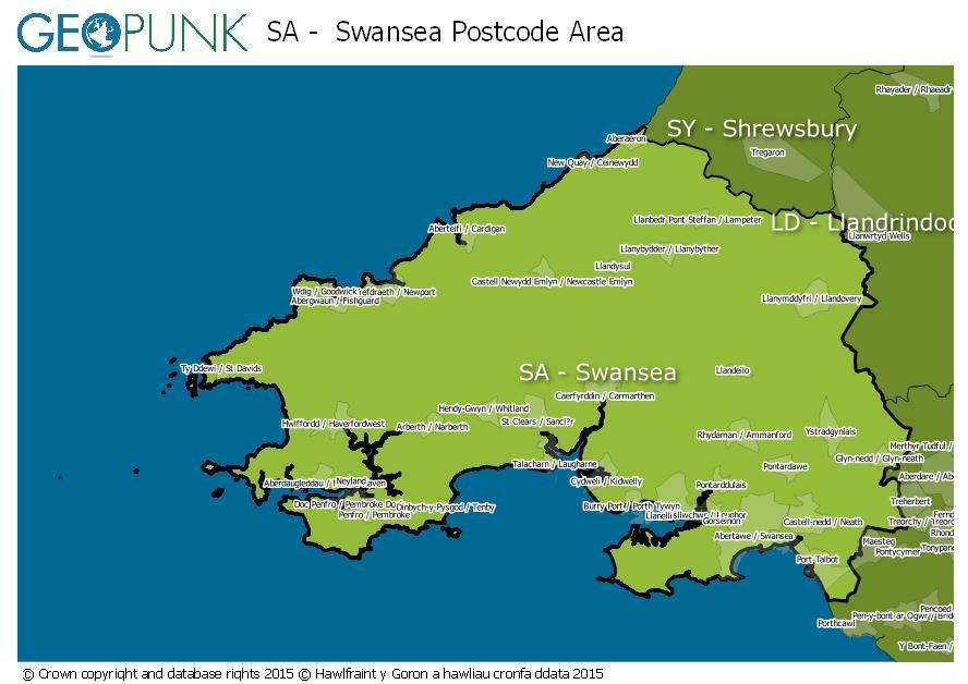 map of the SA  Swansea postcode area