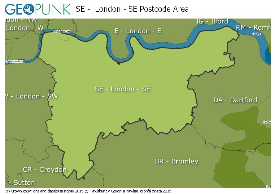 London Uk Postcode Map.Se London Se Postcode Area