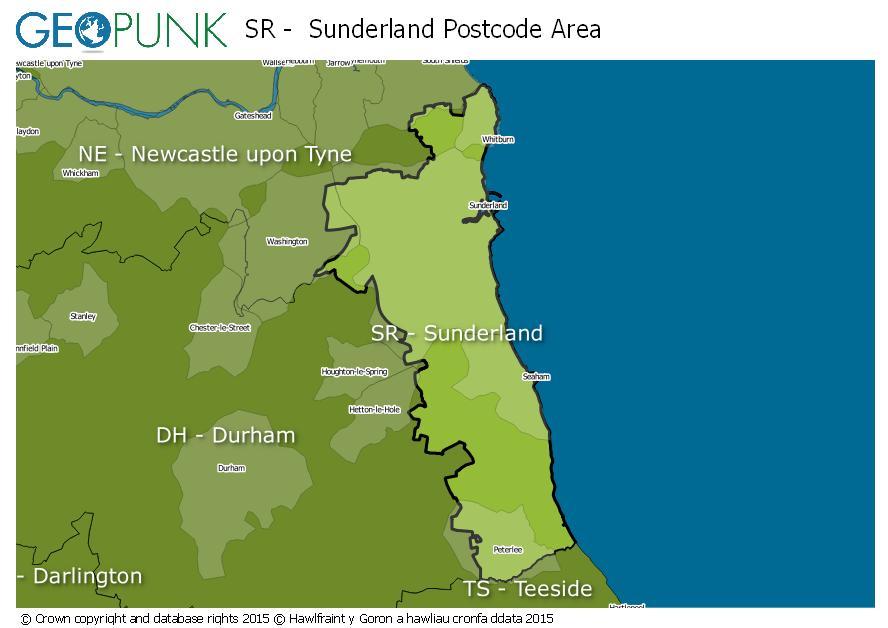map of the SR  Sunderland postcode area