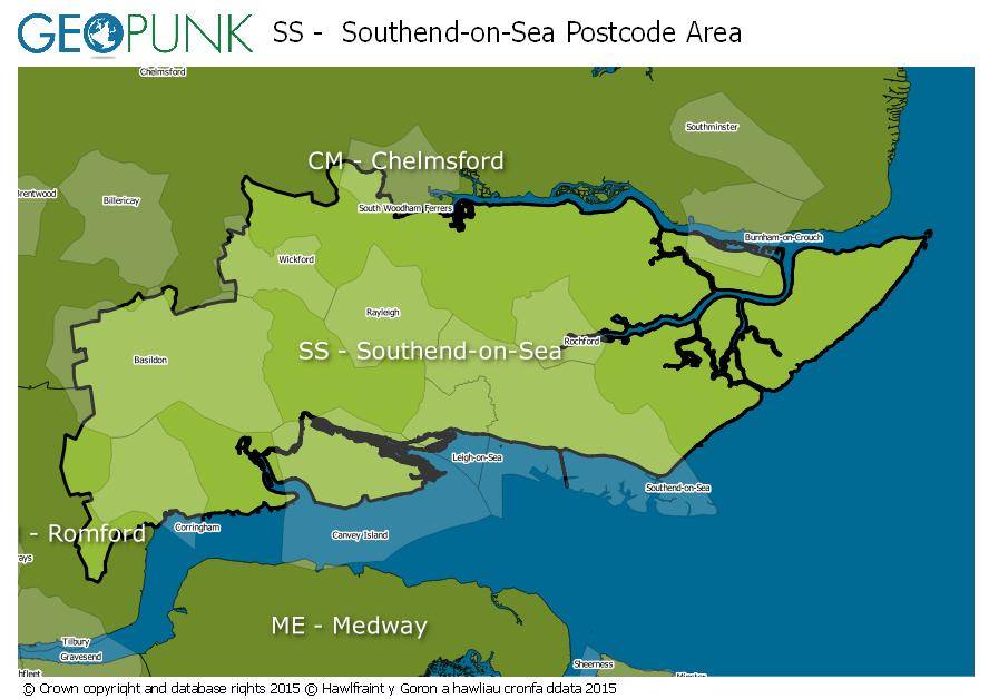 map of the SS  Southend-on-Sea postcode area