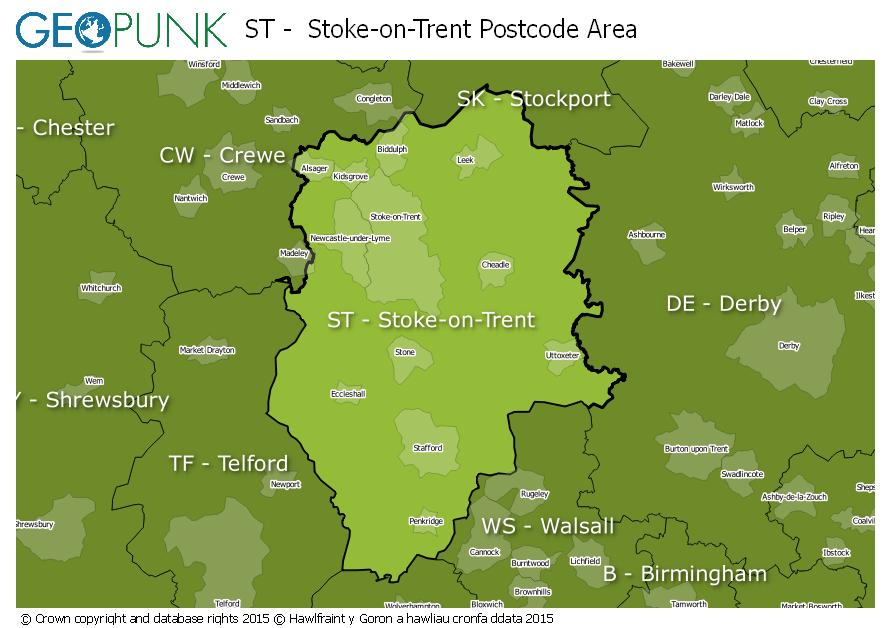 map of the ST  Stoke-on-Trent postcode area