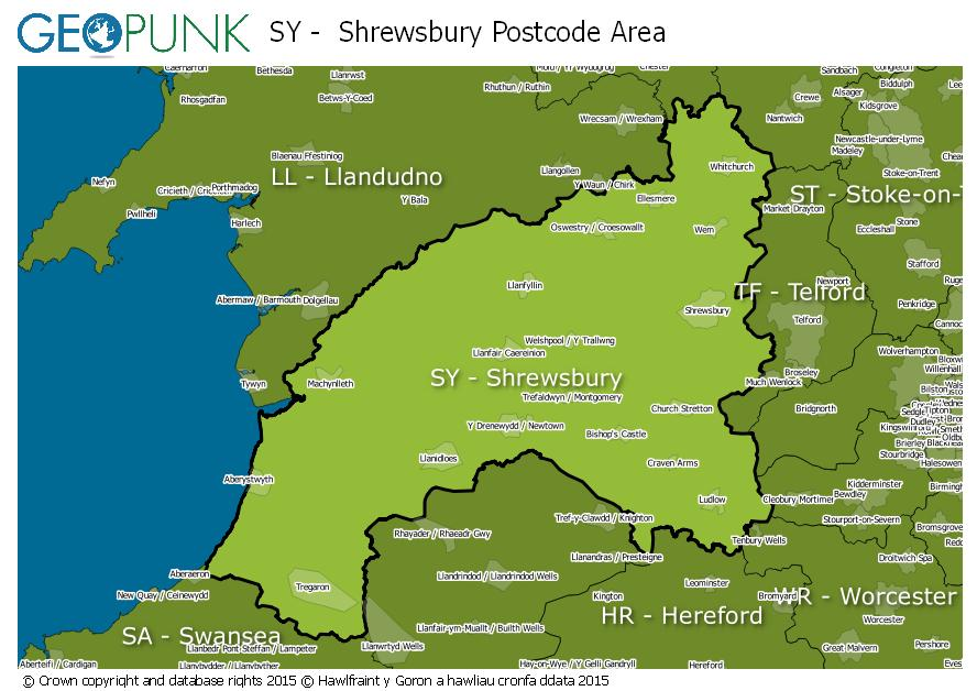 map of the SY  Shrewsbury postcode area