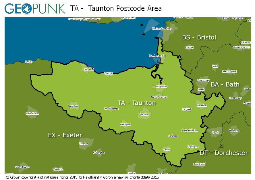 map of the TA  Taunton postcode area