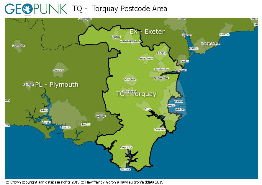 map of the TQ  Torquay postcode area