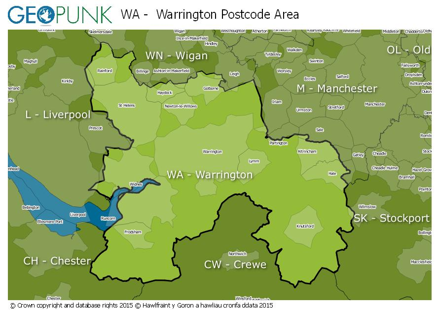 WA Warrington Postcode Area