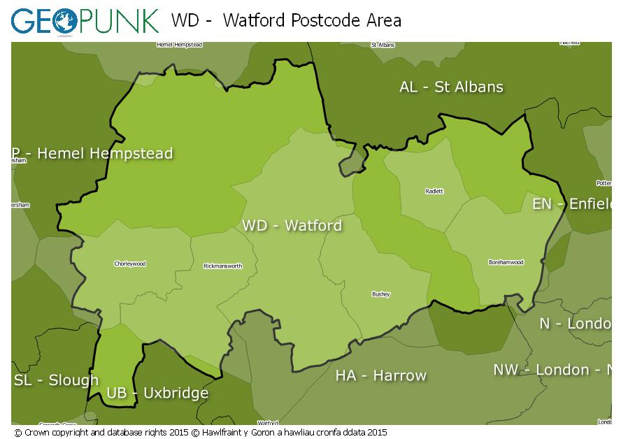 map of the WD  Watford postcode area