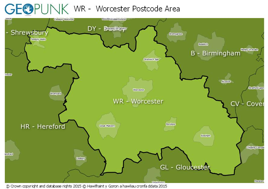 map of the WR  Worcester postcode area