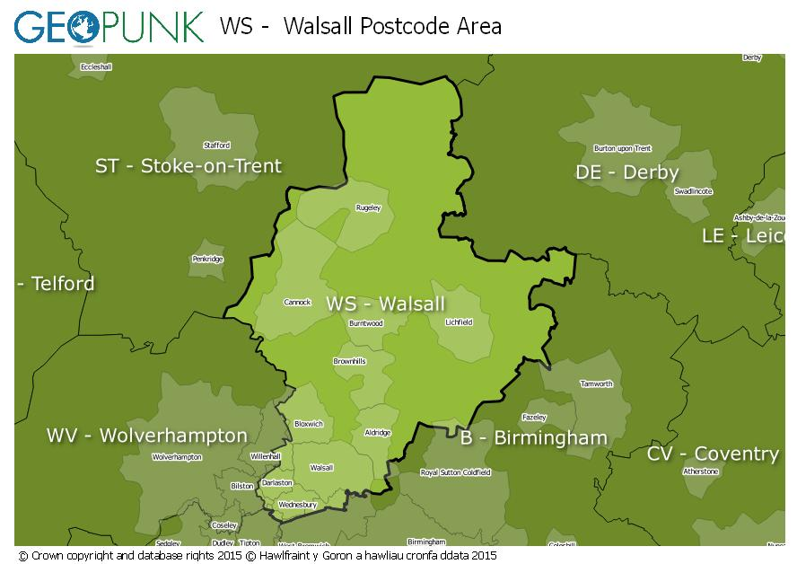 map of the WS  Walsall postcode area