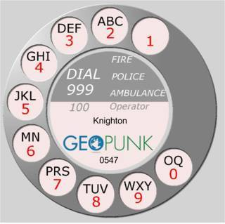 picture showing an old rotary dial for the 01547 Knighton area code