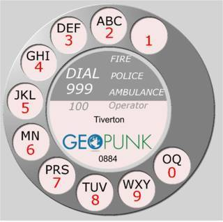 picture showing an old rotary dial for the 01884 Tiverton area code
